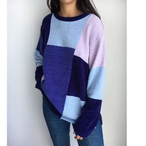 Vintage fuzzy oversized color block sweater L